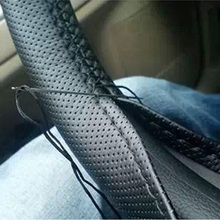1pcs Black DIY Car Steering Wheel Cover With Needles and Thread Genuine Artificial leather