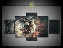 5 Pieces/set  Abstract Tiger Head Wall Art Painting Picture Print on Canvas for Home Decoration Wall Art Picture for Living Room