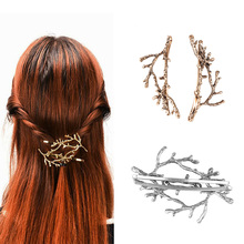 2pcs Fashion Girls Hair Clip Women Metal Branch Leaves Hairpin Bobby Pin Hair Clip Accessories 2017(China)