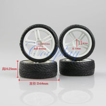 Free shipping 4pcs White Wheel Tire  for 1:10 1/10 RC Car On-road Racing  Model car