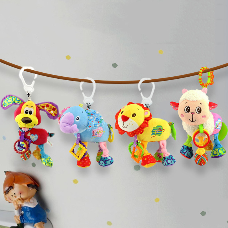 35*22CM Musical Cute Rattles Bed Crib Stroller Kids Stuffed Doll Vibrator Dog Hand Bell Shake RingToy With Teether D012 1