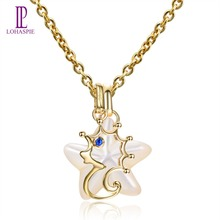 Lohaspie Ocean Party Natural Sapphire Pendant Solid 9k Yellow Gold Mother of Pearl Sea Horse Necklace Fine Jewelry women's Gift(China)