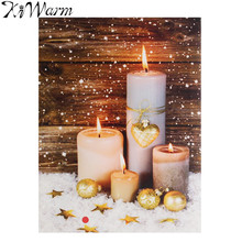 Flickering White Candles Light Up LED Canvas Painting Art Wall Picture Mural for Home Living Room Hotel Christmas Decor Gifts