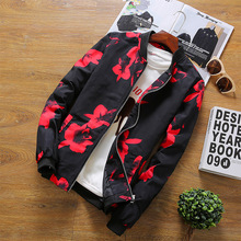 2017 New Fashion Brand Floral Jacket Men Clothes Flower Print Baseball Jackets Men Coats Plus Size 3XL 4XL