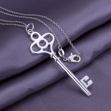 Men's Jewelry /Promotion sale Factory Price/ Silver Key Pendant Necklace / Wholesale Fashion Jewelry Silver Plated Necklaces