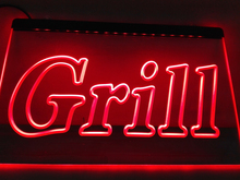 LB440- Grill OPEN Bar Pub BBQ NEW NR   LED Neon Light Sign    home decor  crafts