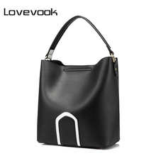 LOVEVOOK brand fashion women handbag high quality PU female casual tote bag ladies crossbody bag large capacity with two straps(China)