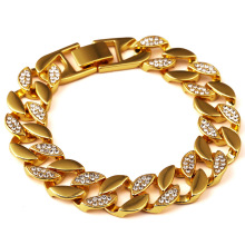 Bling Hip Hop Cuban Curb Chain Bracelet Men  Yellow Gold Filled Trendy Half Smooth Half imitated diamond Simulated Bangle