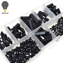 M3 Nylon Black Hex M-F Spacers/ Screws/ Nuts Assorted Kit, Standoff Free shipping WAVGAT(China)