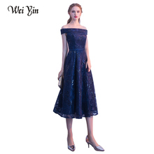 WEIYIN Navy Blue Boat Neck Formal Evening Dresses Lace Elegant Gown Party Vestido De Festa Longo Bridal Dresses Custom Made(China)