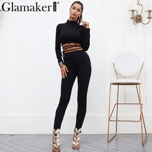 Glamaker Sexy lace up knitted jumpsuit romper Women black bandage fitness jumpsuit overalls Female long sleeve casual jumpsuit