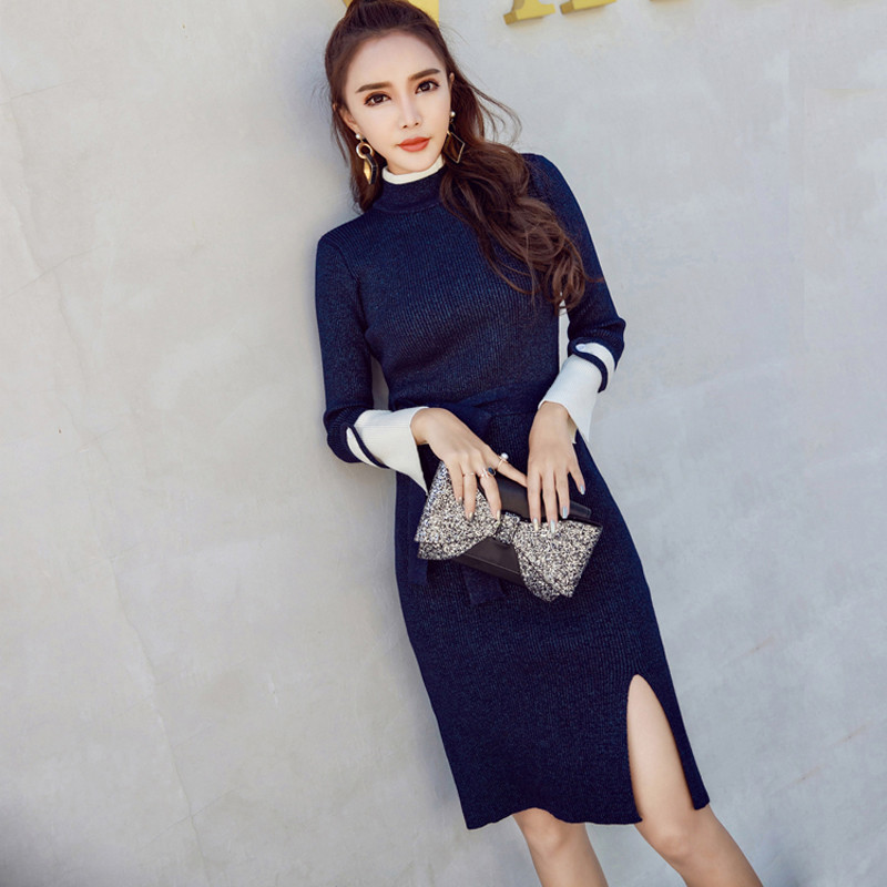 Autumn Patchwork Stand Collar Slim Elegant Knitted Dresses Women Full Sleeve Warm Packaged Hip Dress Side Slit Vestidos Femme Îäåæäà è àêñåññóàðû<br><br>