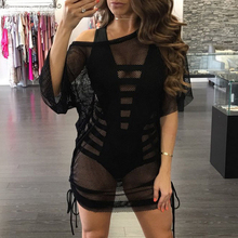 Summer T-shirt Women Tops Off Shoulder T Shirts Sheerness Sleeve Shirt Slash Neck Tshirt Fishnet Tees Hollow Out top Blusas