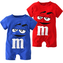 2017 New Summer baby boys girls clothes newborn blue and red short sleeve Cartoon printing Jumpsuit Infant clothing set