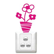 Small potted flowers wall stickers switch stickers cartoon children's room Kitchen appliances Furniture Stickers