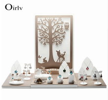 Oirlv China Supplier New Product Acrylic Display Stand For Counter Ring Necklace Earrings Bracelet Holder Jewellery Displays Set