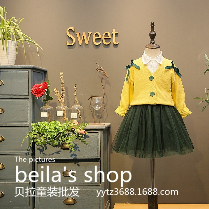 SexeMara 2017 autumn new girl Korean hit color ribbon V collar sweater with yarn  skirt 2 sets for free shipping<br>