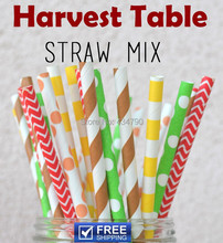 250pcs Mixed 5 Designs Harvest Table Thanksgiving Paper Straws,Brown,Orange,Yellow,Lime,Red,Striped,Dot,Chevron,Sailor Stripe