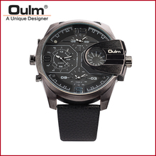 Oulm HP3790 Man Watches Sport Watches Male 3 Time Zones Quartz Wristwatches Made in China