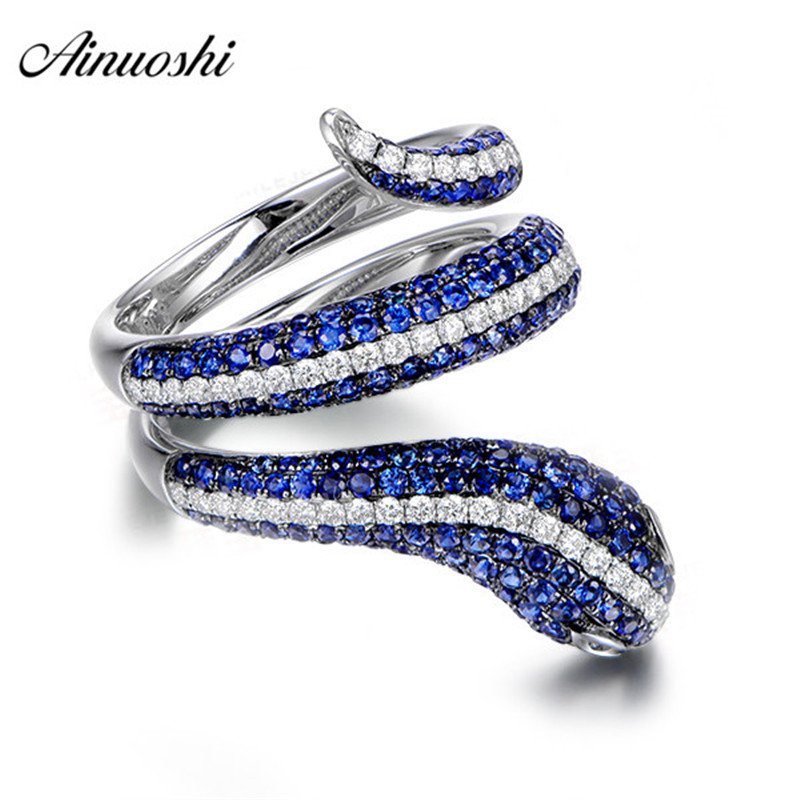 AINUOSHI Classic Round Cut Blue White Sona Rings 925 Sterling Silver Blue White Snake Women Wedding Party Jewelry Rings Gifts