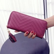 Wallet Women Fashion Female Purse Lady Artificial Leather Card Holder Long Wallet Clutch Tassel Zipper Casual Handbag Purse