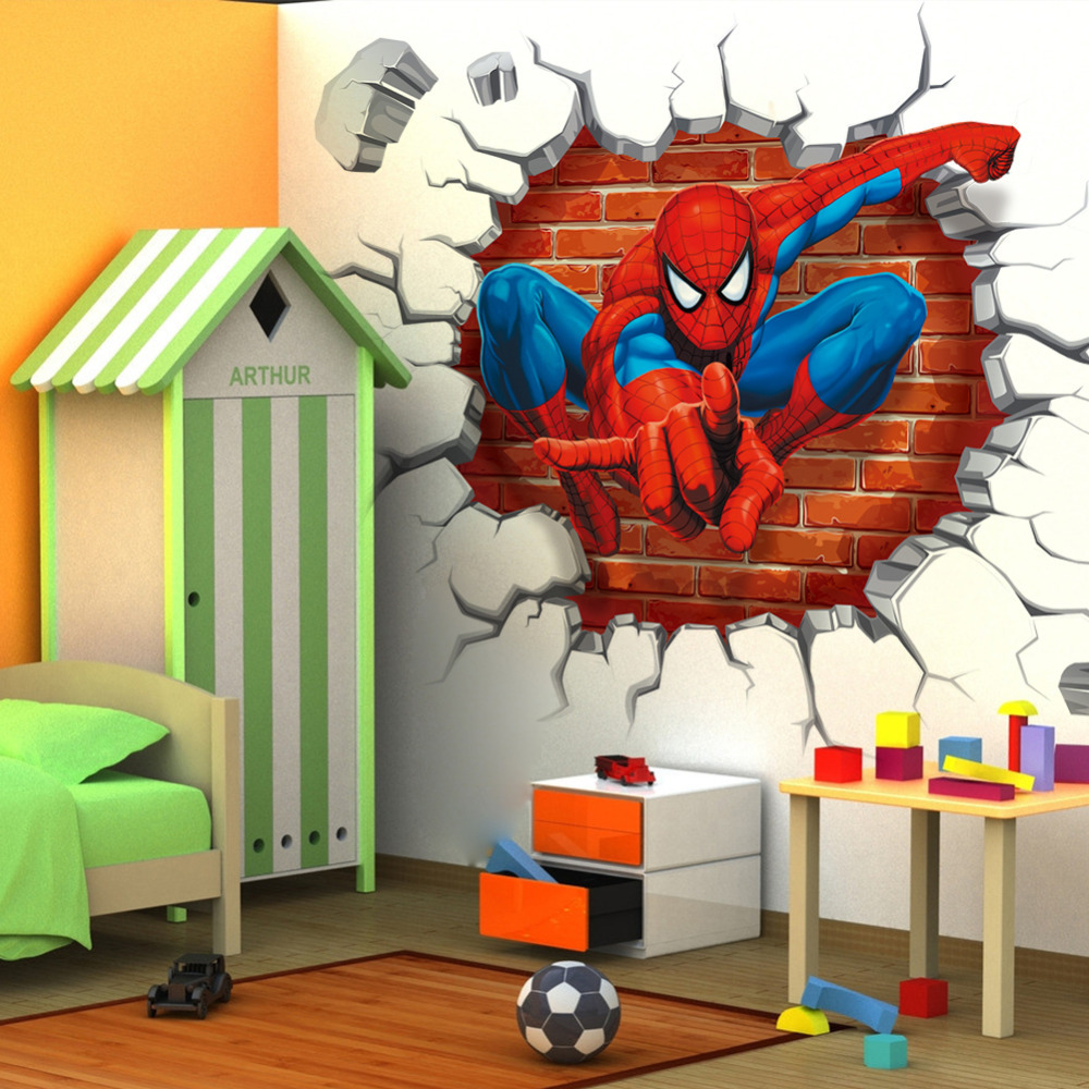 Removable wall art graphic - 45 50cm Hot 3d Hole Famous Cartoon Movie Spiderman Wall Stickers For Kids Rooms Boys