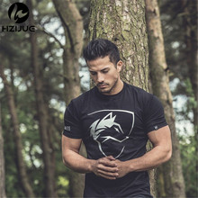 2017 Summer New mens gyms T shirt Crossfit Fitness Bodybuilding Fashion Male Short cotton clothing Brand Tee Tops