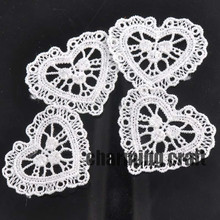 30pcs/lot Heart Lace Applique Mesh Trim For Garment Accessories Decoration Sew On Guipure Lace Fabric CP0554(China)
