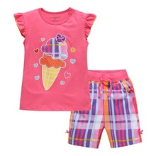 2010 Wholesale Europe and United States Children Suits Pure Cotton Summer T-shirt +Shorts Cartoon Girl Cotton Clothes Set(China)