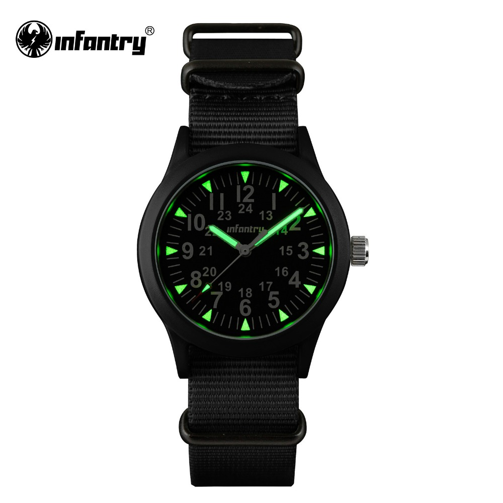 INFANTRY Mens Watches Tactical Army Luminous Watches Durable G10 Nylon Strap Hattori Japanese Quartz Watches Relojes Clock(Hong Kong)