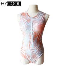 HYCOOL 2017 One Piece Women Sport Swimsuit Orange Leaf Zipper Women Swimwear Monokini Swimsuit Swimming Surfing Wear Beachwear(China)