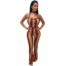 Buy Sexy Women Jumpsuit Colorful Stripes Halter Backless Flared Pants Slim Playsuit Rompers Orange Combinaison Femme 2018 Clubwear