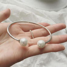 Charm double pearl beads 925 sterling silver bracelets bangles fashion vintage women girl 925 silver bracelets jewelry