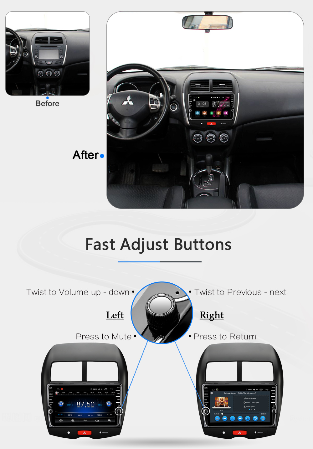 10.2 Android 8.1 Car GPS Player Navi for Mitsubishi ASX 2010 2011 2012 with 2G+32G Octa Core Stereo Multimedia No DVD Head unit