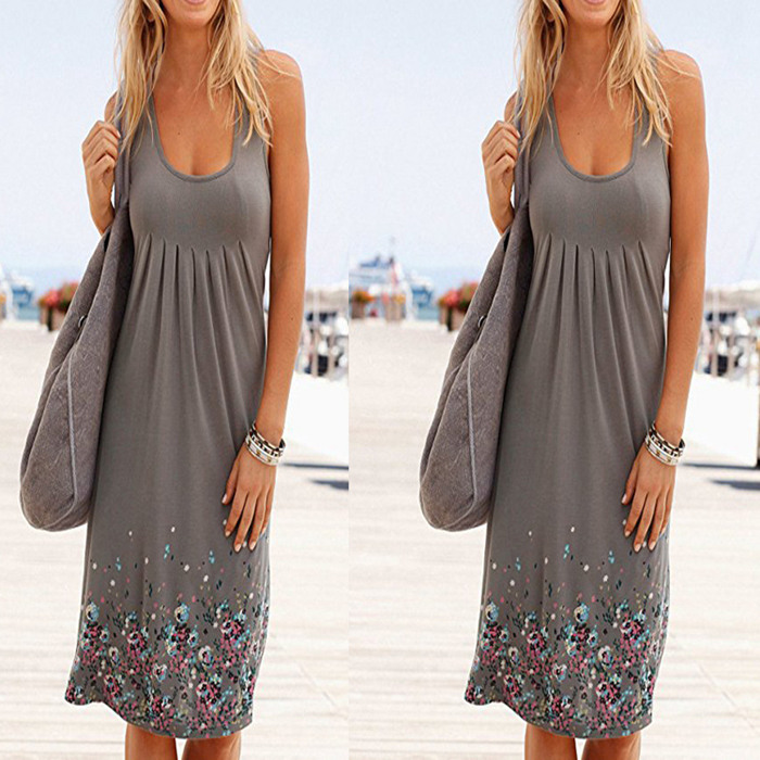 Sleeveless Floral Print Loose Beach Summer Dress Fashion Six Colors Casual Women Dress 19 Sexy Dress Plus Size S-5XL 11