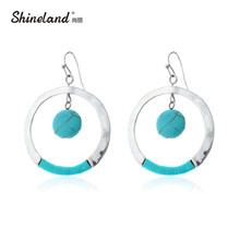 Shineland New Bohemian Ethnic Jewelry Handmade Round Dangle Earrings Blue Stone Black Stone With Blue Cotton Earring For Women