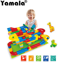 [Yamala] 2017 Funny DIY Race Run Track Colorful Construction Balls Rolling Track Building Blocks Compatible LegoINGly Duploe