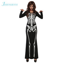 JIZHENGHOUSE Halloween Costume Skeleton Ghost Clothes Women Fashion Dress Costumes