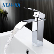 KEMAIDI New Arrival Bathroom Faucet Ceramic Waterfall Chrome Brass Basin Faucet Lavatory Combine Set Faucet Mixer Tap(China)
