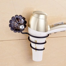 Freeshipping Oil Rubbed Bronze Hair Dry Holder Bathroom Wall Mounted Flower Crved(China)
