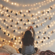 1.5M Garland LED String Lights Fairy Lamp Starry Battery Card Photo Clip Festival Christmas Wedding Holiday Decoration Light(China)