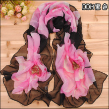 new 2017 spring fashionable women chiffon silk scarf large flower pattern shawl thin long printed scarves wholesale