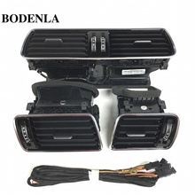BODENLA For VW LHD Passat B6 B7 CC R36 Chrome Piano Black Air Vent LED Red Light 3AD 819 701 A+3AD 819 702 A+3AD 819 728 A