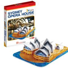 T0483 3D Puzzles Sydney Opera House DIY Building Paper Model DIY Creative gift Children Educational toys hot Standard version(China)