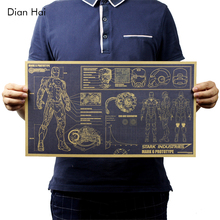 Hollywood Movie Poster Adornment Picture Iron Man Design Drawings Nostalgic Retro Kraft Paper Poster Decorative Painting 51x29cm(China)