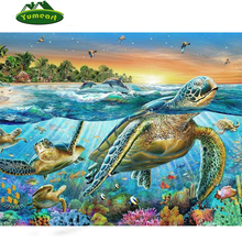 Animal Full Diamond Embroidery 5D Diy Diamond Painting Sea Turtles Decorative Resin Stone Pasted Picture Children Birthday Gift(China)