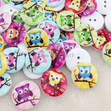 10/50/100Pcs 20mm White Print Owl Tower Wood Buttons Clothing Sewing Tool Accessories WB49