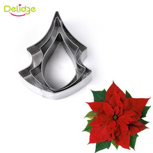 Delidge 3pcs/set Stainless Steel Poinsettia Flower Cookie Cutter 3D Fondant Sugarcraft Biscuit Baking Mold Cake Decorating Tools(China)
