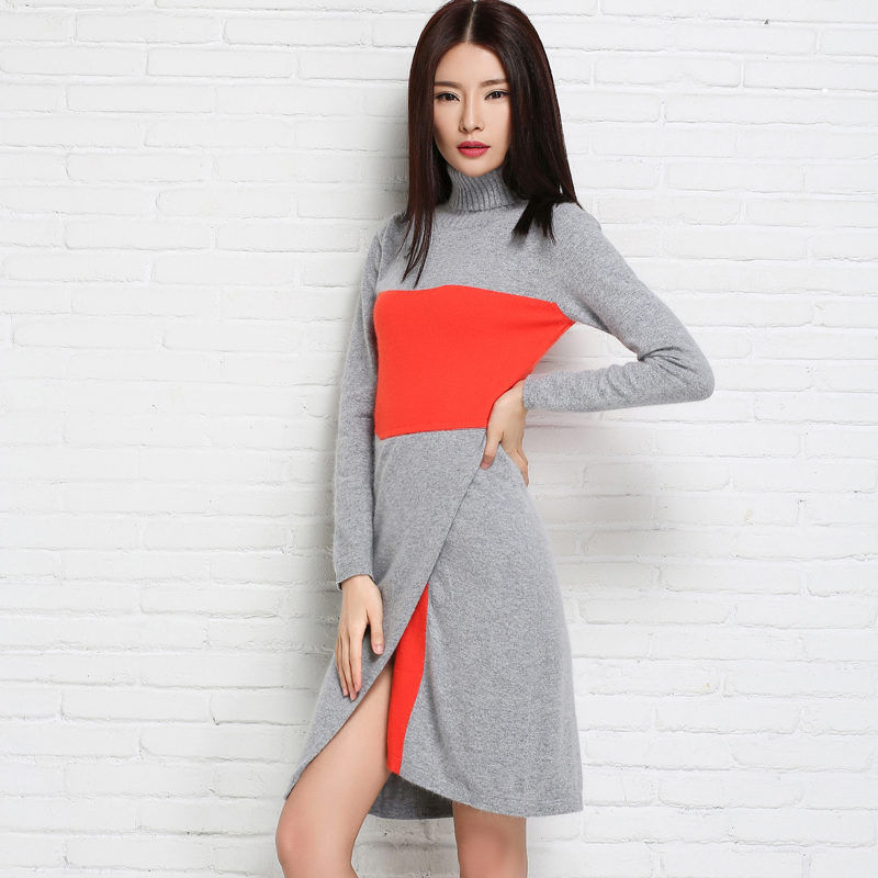 2017 Fashion Women Sweaters and Pullovers Sueter Femme Winter Tricot Knitted Cashmere Wool Knitwear Dresses Patchwork CheapÎäåæäà è àêñåññóàðû<br><br>