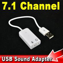 Driverless USB 2.0 Virtual 7.1 Channel External USB Audio Sound Card Adapter Sound Cards For Laptop PC